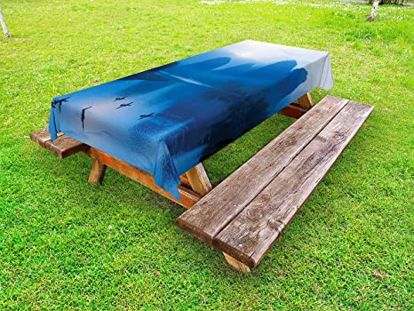 Amazoncom Ambesonne Asian Outdoor Tablecloth Sunrise With Bamboo - Picnic table raft