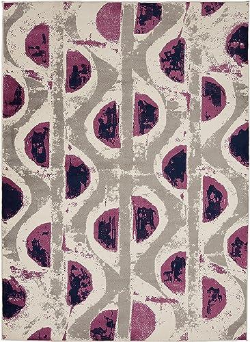 Diagona Circles Area Rug, 92 W x 116 L, Ivory Multi