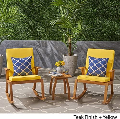 Great Deal Furniture Champlain Outdoor Modern Acacia Wood Rocking Chairs