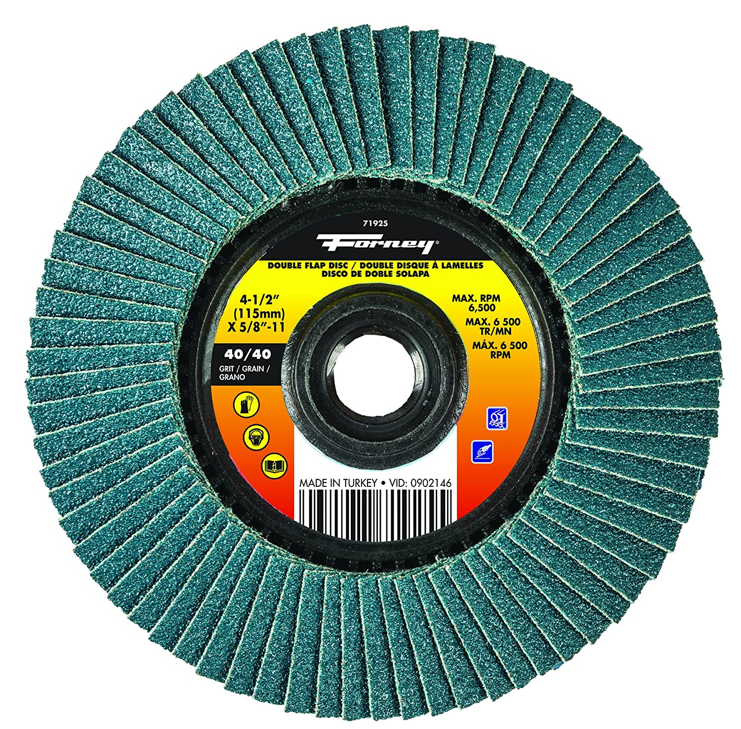 40//Grits Forney Industries Forney 71925 4 1//2 Double-Sided Flap Disc