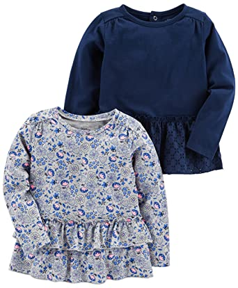 c1314e2f78dc1 Amazon.com: Simple Joys by Carter's Toddler Girls' 2-Pack Long Sleeve Tops:  Clothing
