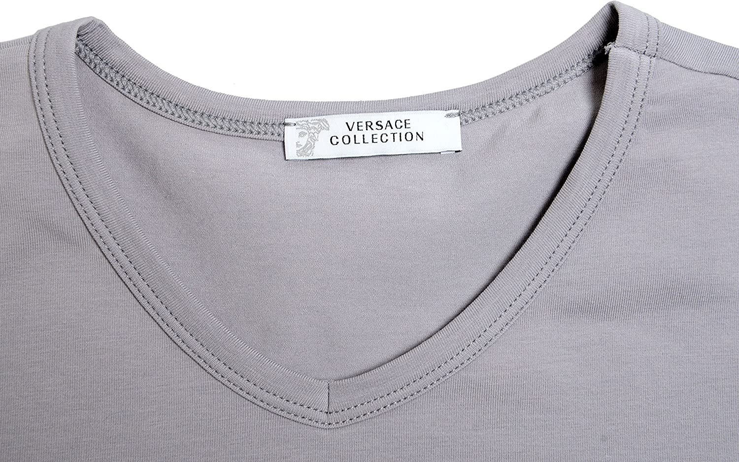 Versace Collection Mens Gray Stretch V-Neck Short Sleeve T-Shirt US L IT XL;