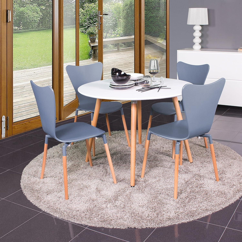Homely - Conjunto de mesa redonda de cocina ECLECTIC con 4 sillas ...