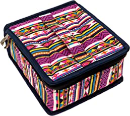 Pink Essential Oil Bottle Carrying Case - 30 Bottles of 5ml, 10ml, or 15ml sizes for Storing & Traveling By Diffusing Essentials™ - Neon Navajo Aztec Fabric