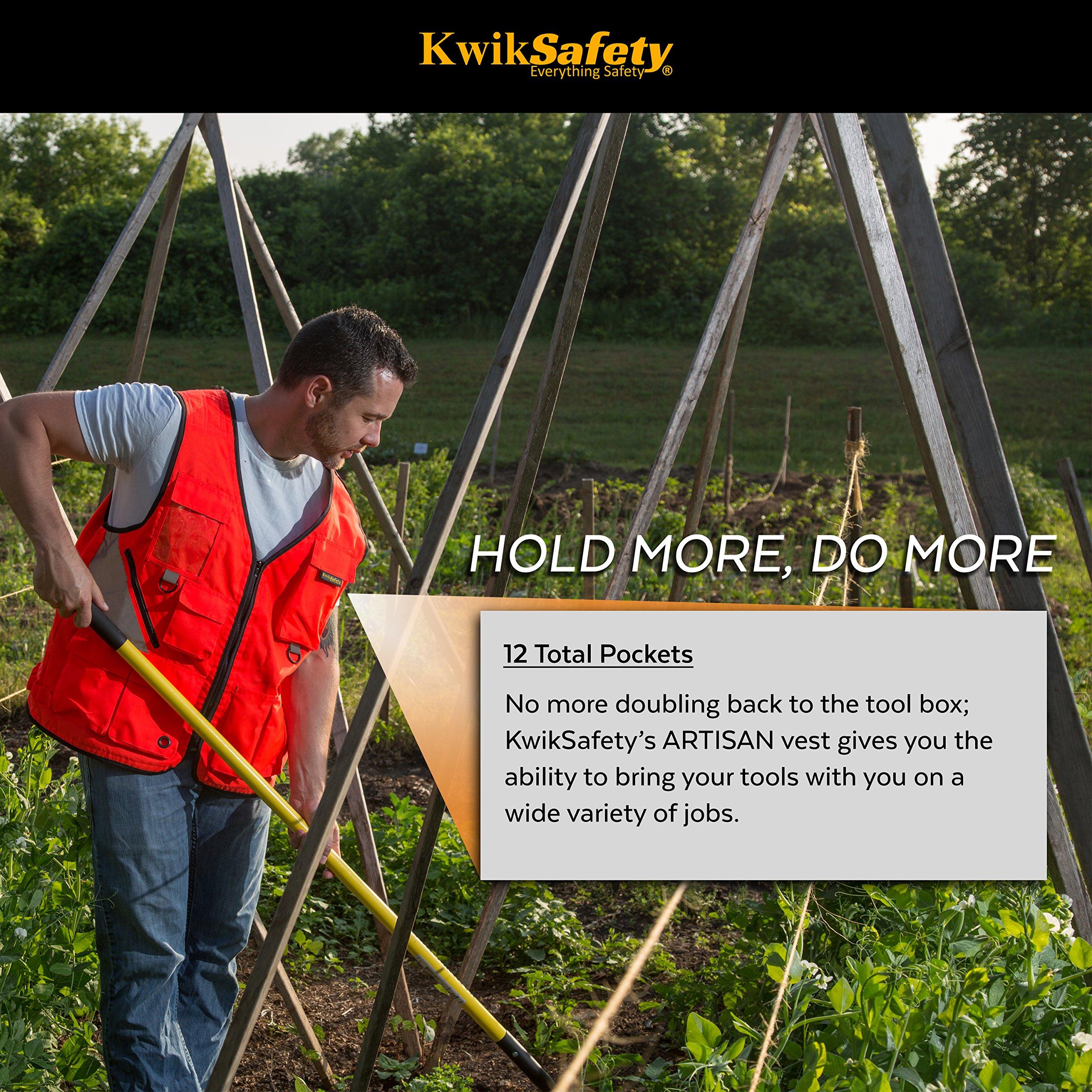 KwikSafety (Charlotte, NC) ARTISAN Tool Vest | Reflective Multi Pocket Lightweight Work Wear | Hi Vis Volunteer Emergency Crew Surveyor Carpenter Electrician Engineer | Men Women Regular | 4XL/5XL by KwikSafety (Image #4)