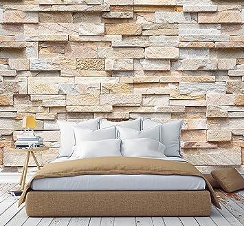 murimage Fototapete Steine 3D 274 x 254cm Steinwand inklusive Kleister  Optik Muster Braun Beige Edel Küche Schlafzimmer Wohnzimmer