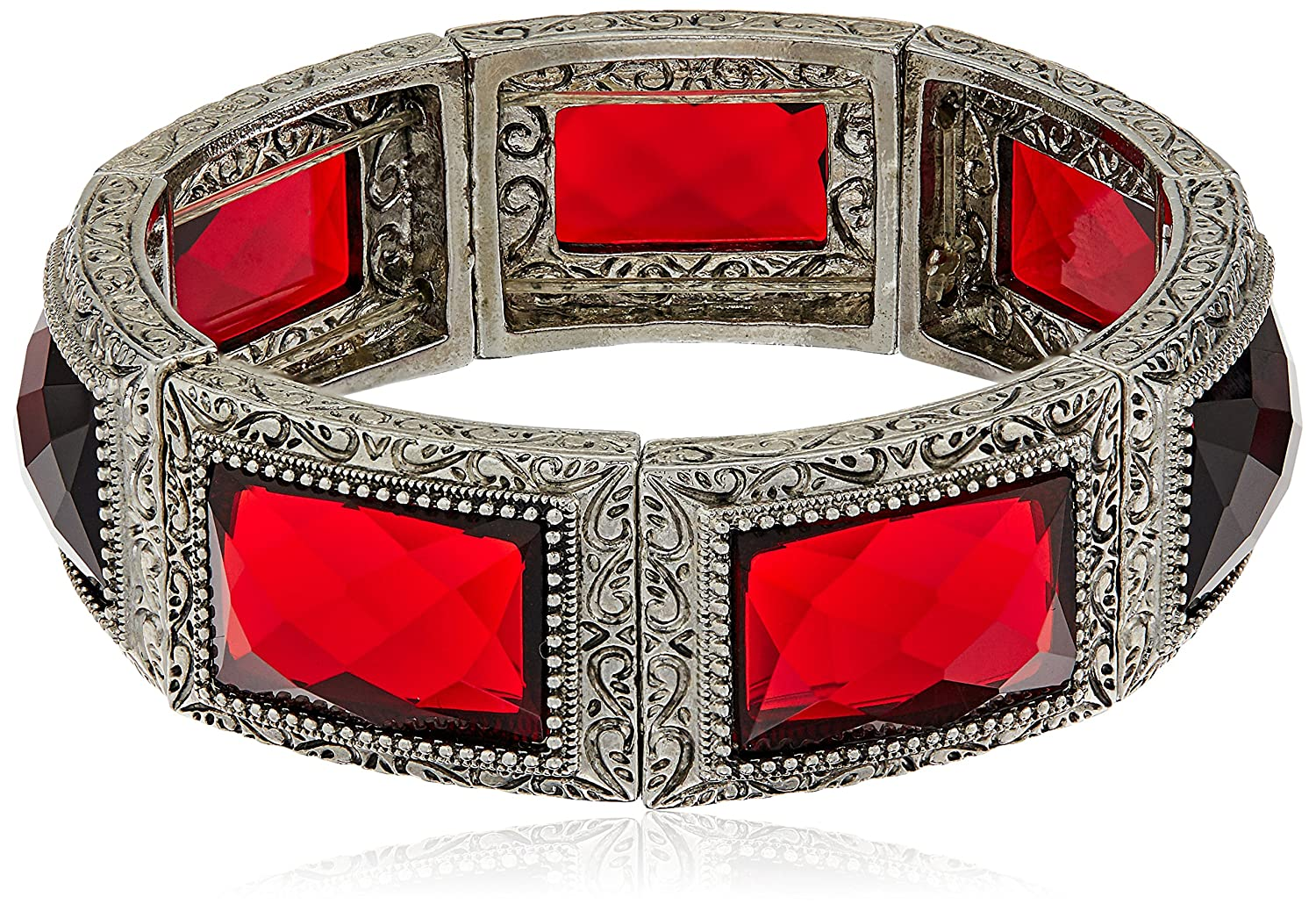 1928 Jewelry Silver-Tone Red Rectangle Stone Stretch Bracelet