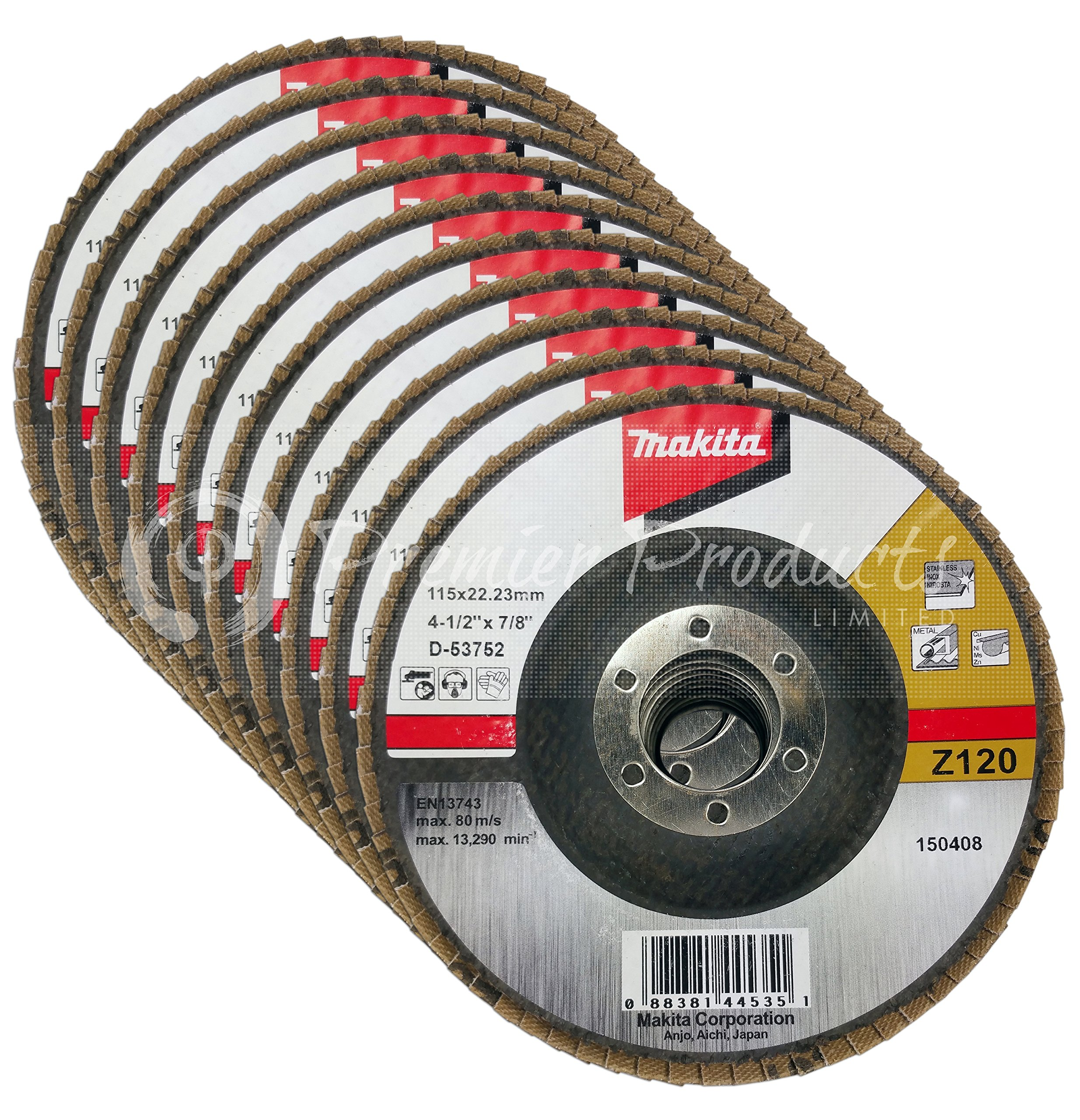 Makita 10 Pack - 120 Grit Flap Disc For Grinders - Fine Conditioning For Metal, Stainless Steel & Non-Ferrous - 4-1/2'' x 7/8-Inch | Z120 Angled
