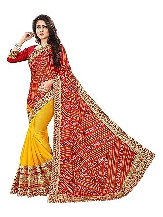 d81ff46830 Sarika Women's Moss Chiffon Rajasthani Bandhani Zari Lace Work Saree With  Blouse (SS05_15002_ Red And