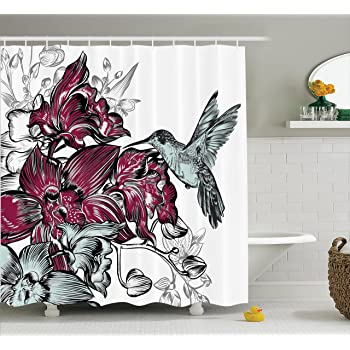 Ambesonne Hummingbirds Decorations Shower Curtain Set, Orchid Flowers  Bouquet And A Hummingbird Decorative Artistic Design