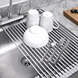 "Sorbus Roll-Up Dish Drying Rack | Over the Sink Drying Mat,- Multipurpose Dish Drainer - Fruits And Vegtable Rinser - Durable Silicone Covered Stainless Steel Large 20-1/2""L x 12-3/4""W (Warm Gray)"