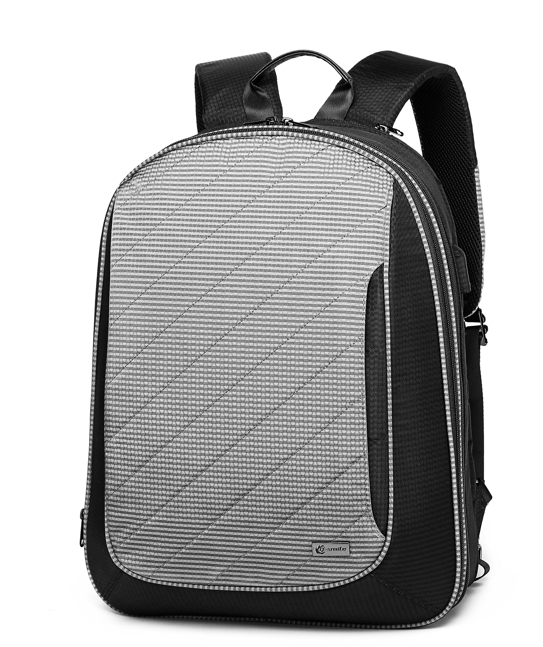 Q-smile Anti Theft Business Laptop Backpack Travel Computer Bag with Toiletry Organizer for Women & Men Fits 15.6 Inch Laptop and Notebook (Grey)