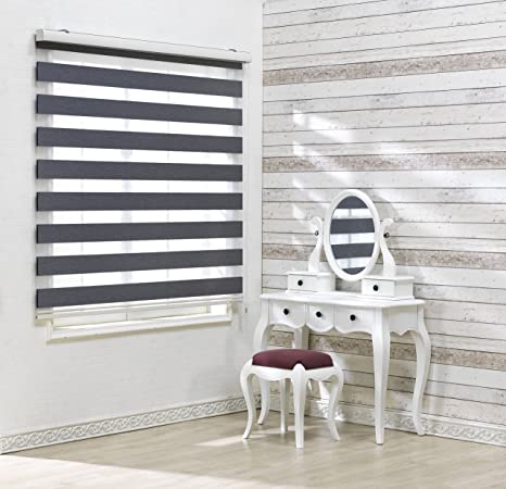 Dual Layer Shades Winsharp Woodlook 64, White, W 23 x H 64 inch Sheer or Privacy Light Control Zebra Roller Blinds Day and Night Window Drapes 20 to 110 inch Wide Foiresoft Custom Cut to Size,