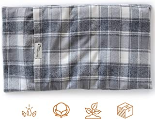 """product image for ComfyComfy Microwaveable Organic Flaxseed Heating Pad with Washable Case 21"""" x 11"""", Made in USA, Grey Plaid"""
