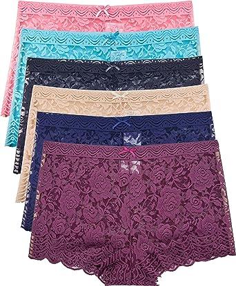 Barbra's 6 Pack of Women's Regular & Plus Size Lace Boyshort Panties