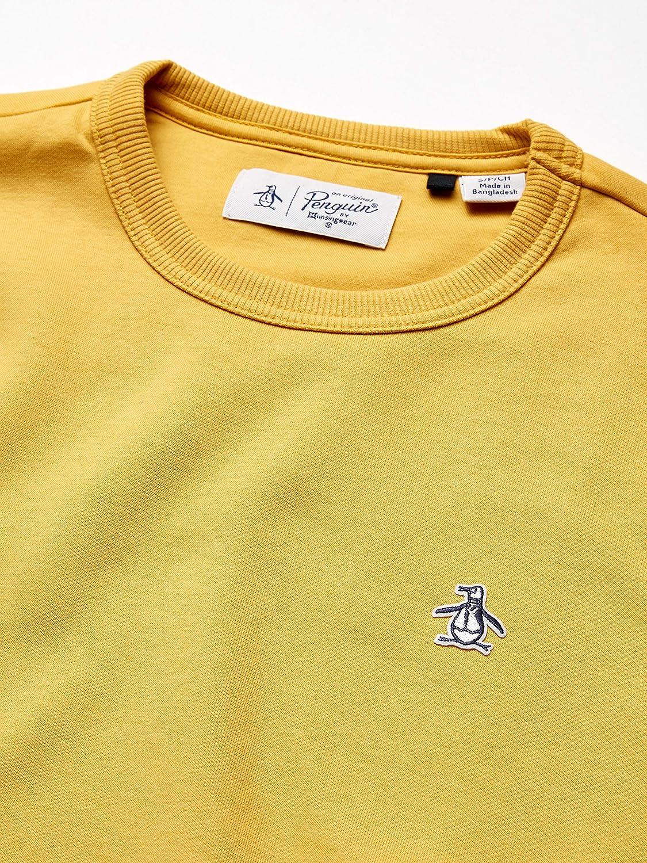 Original Penguin Men's Long Sleeve Sweatshirt Pullover Sweater Honey Gold Sticker Pete