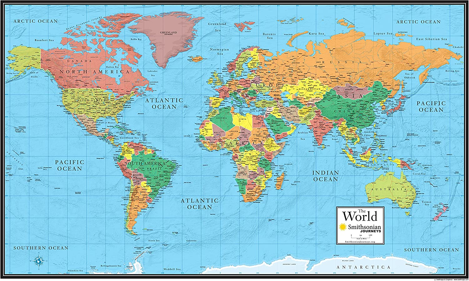 24x36 World Wall Map by Smithsonian Journeys - Blue Ocean Edition Laminated (24x36 Laminated)