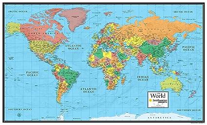 Amazon.com : 24x36 World Wall Map by Smithsonian Journeys - Blue ...