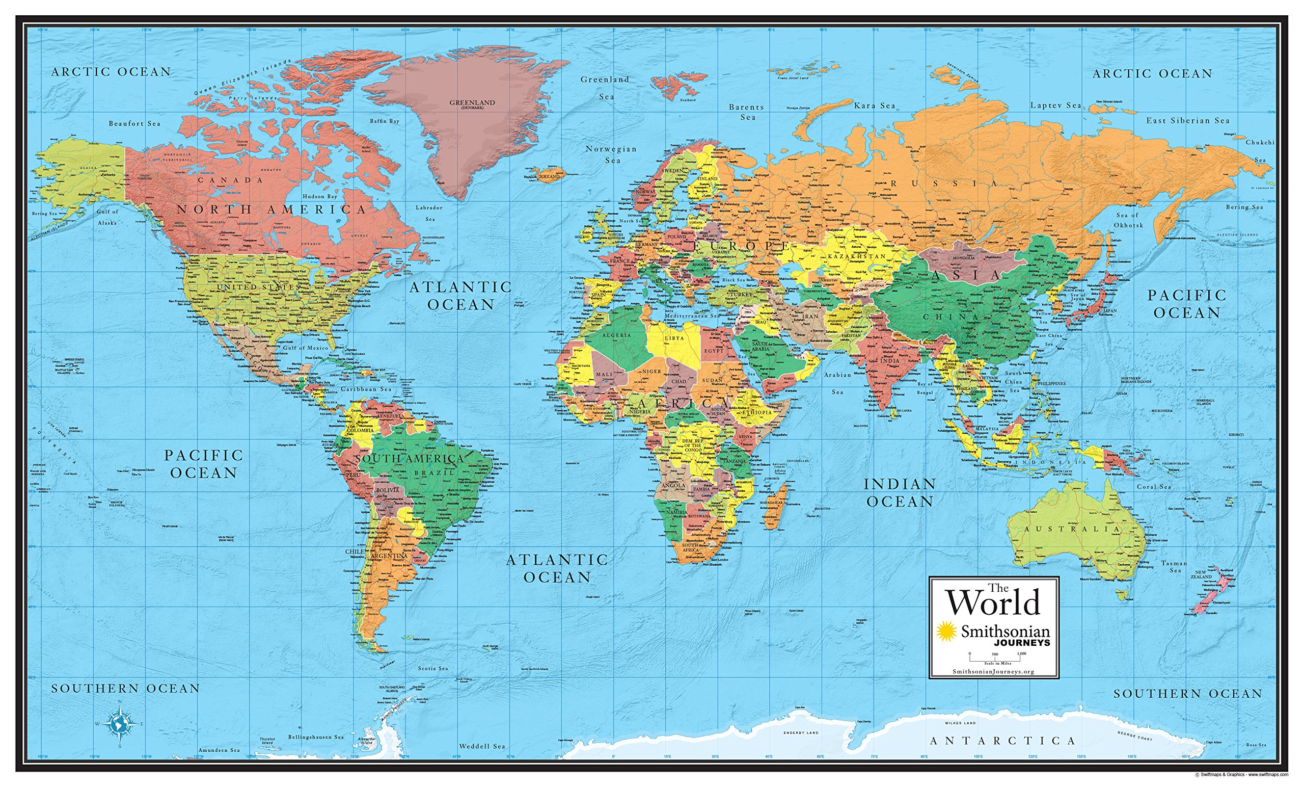 30x48 World Wall Map by Smithsonian Journeys - Blue Ocean Edition (30x48 Laminated)