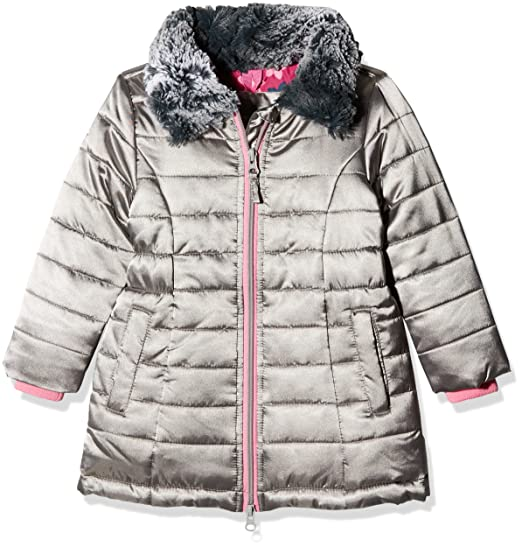 Hatley Girls Quilted Taffeta Coat With Faux Fur Collar Jacket Grey