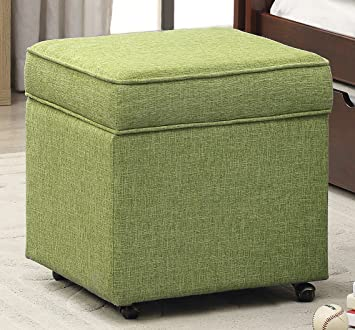 Great Iconic Home George Modern Green Linen Square Storage Ottoman With Caster  Legs