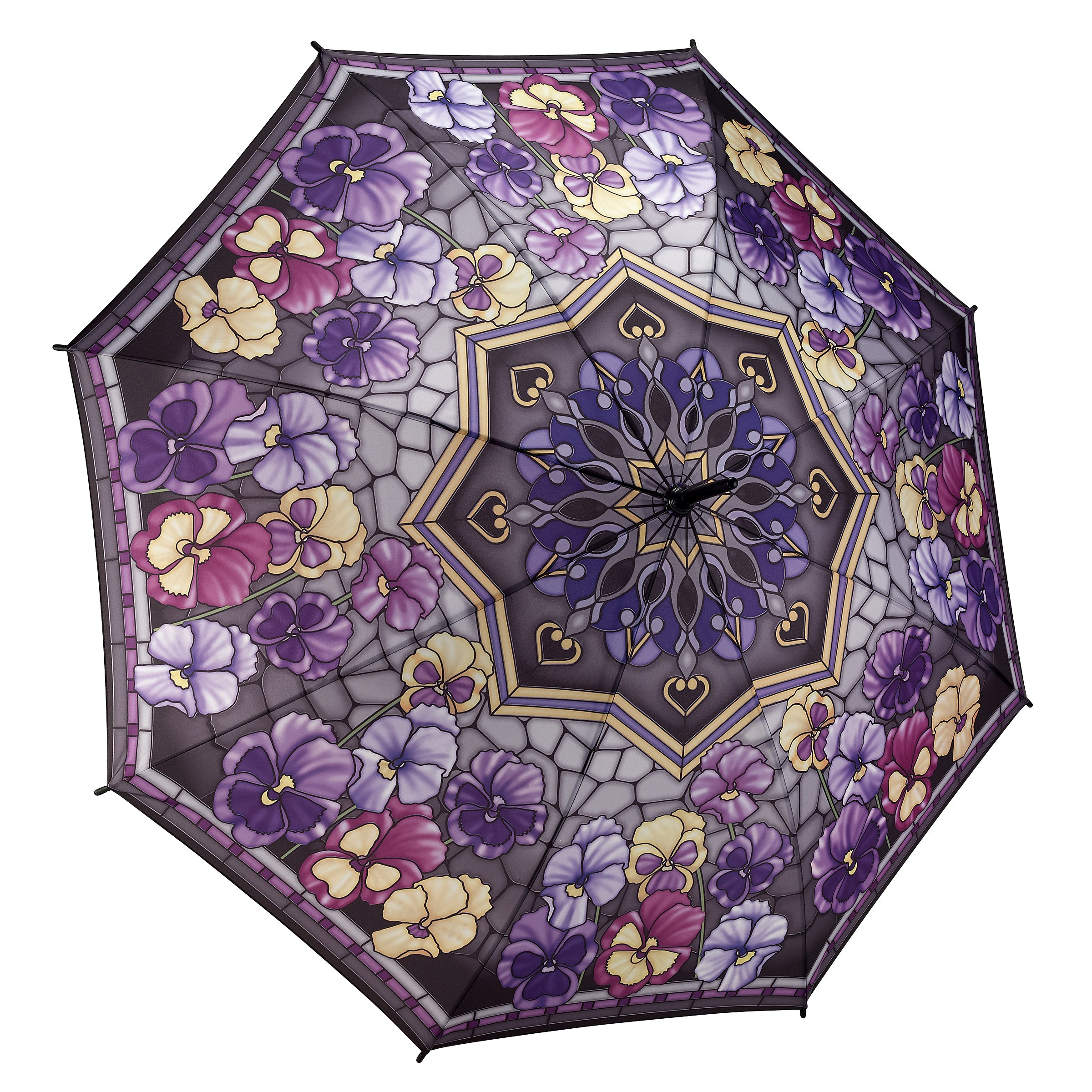 Galleria Stained Glass Pansies Stick Umbrella