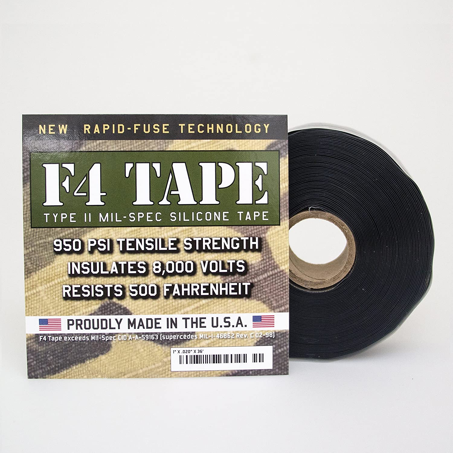 F4 Tape Self Fusing Silicone Mil Spec 1 X 36 Black Wire Harness Electrical Industrial Scientific