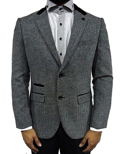 Para hombre Blazer Marc Darcy Abrigo Chaqueta de cena formal funda gris con forro Rony Gris gris: Amazon.es: Ropa y accesorios