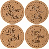 Premium Cork Drink Coasters Inspirational Gift Set (4 PACK) | X Large - Lifetime Replacement Warranty - Bar Drink Coasters Inspirational Gift