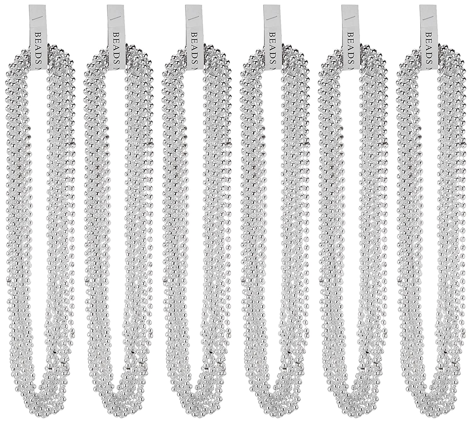 72 pcs 33 Metallic Silver Bead Necklaces Silver Beads St Patricks Day Beads Party Beads//Party Favor Bead Necklace//Gold Mardi Gras Beads