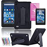 """Amazon Fire 7"""" 2015 Case, EpicGadget(TM) 5th Generation Fire 7 Heavy Duty Hybrid Case Full Protection Cover with Kickstand For Fire 7 inch Display + Screen Film and 1 Stylus (US Seller) Black/Black"""