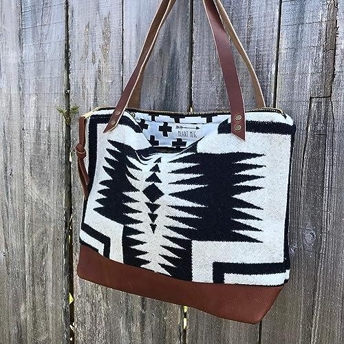 79486e3d68702c Amazon.com: Mercer Tote in Pendleton® wool and full grain leather: Handmade