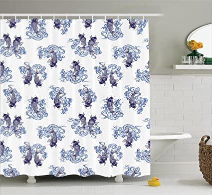 Ambesonne Japanese Decor Shower Curtain Set Underwater Creature Figures As Love Couples On Waves
