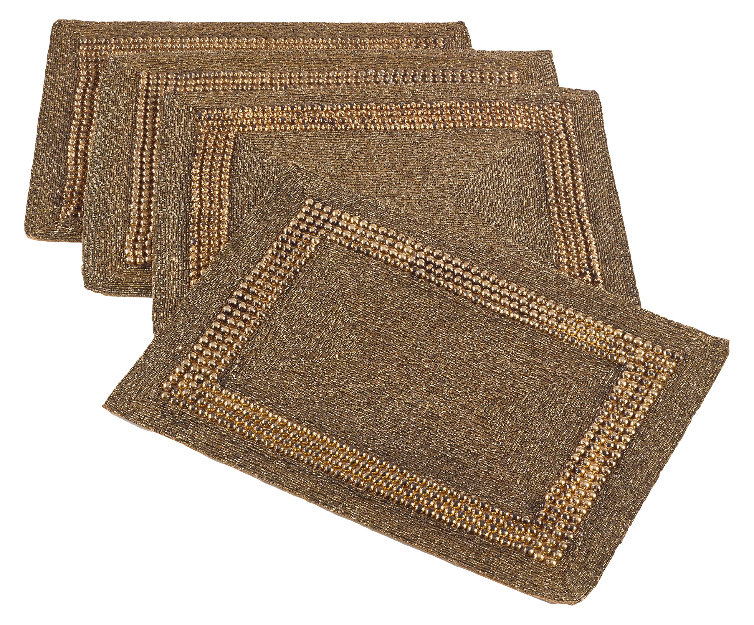 Saro LifeStyle 3270.BZ1318B  Beaded Design Placemat , Bronze, 13''x19'' (Set of 4 pcs)