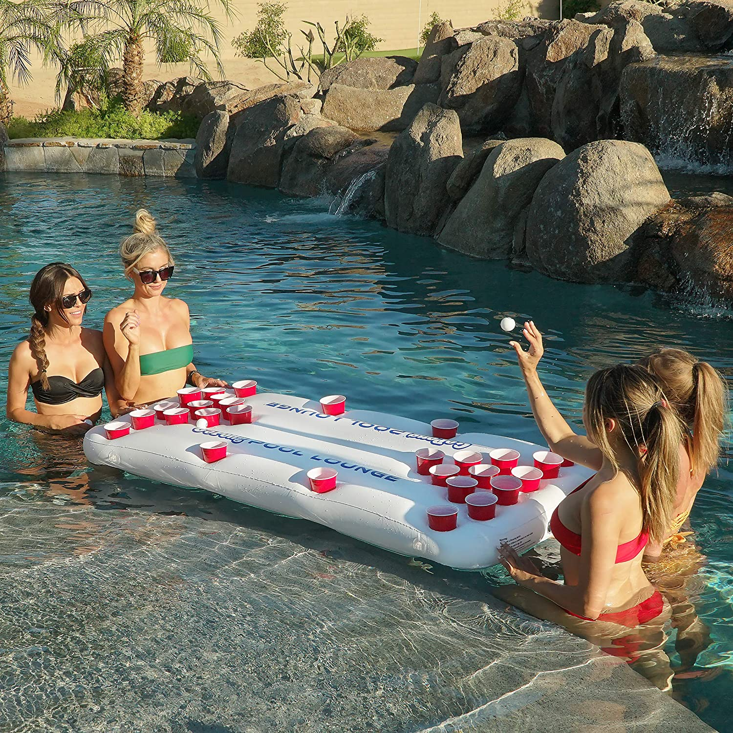 White GoPong Pool Lounge Beer Pong Inflatable with Social Floating