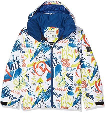Quiksilver White-Thunderbolts Mission Printed Kids Snowboarding Jacket (Kids M , White)