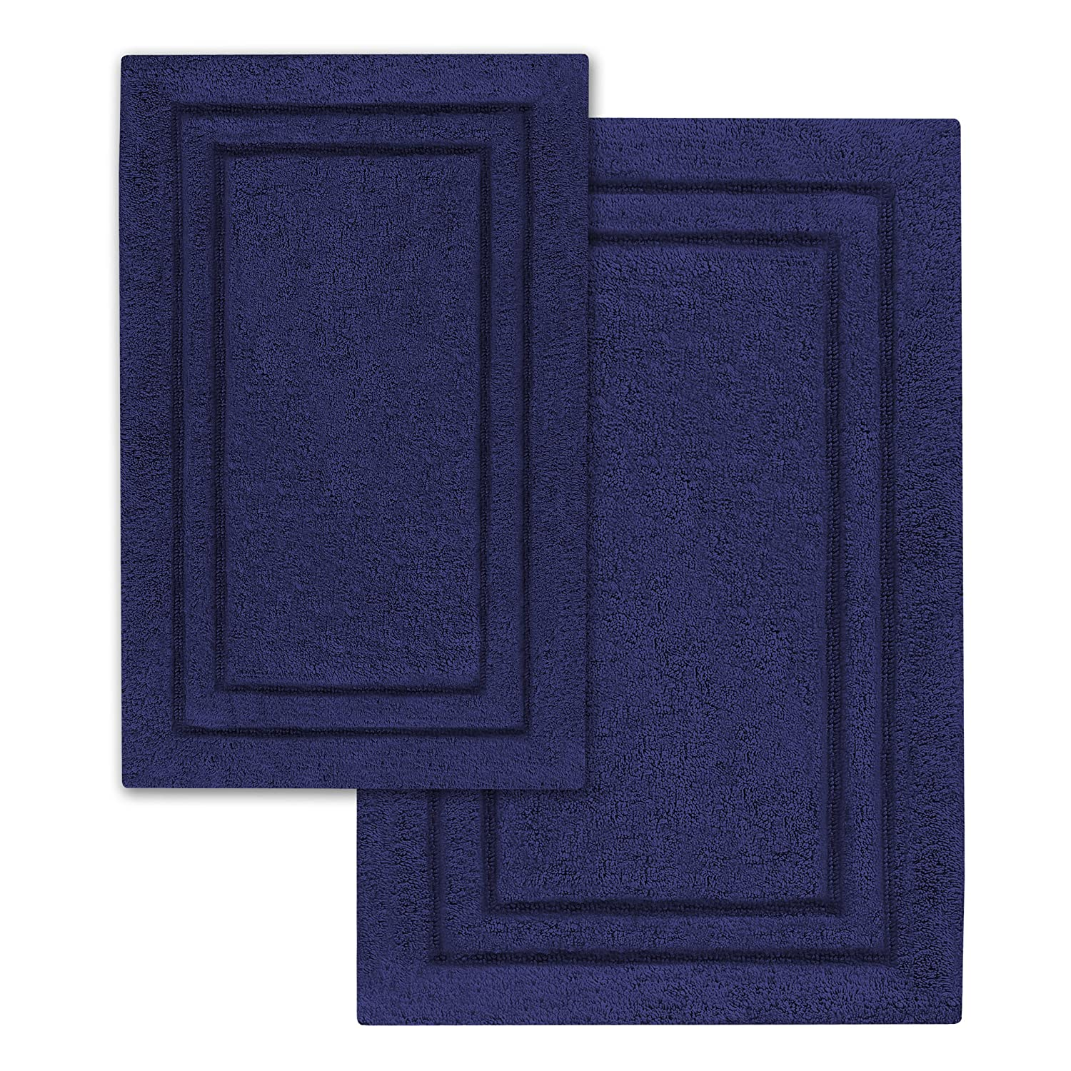 Charmant Amazon.com: Superior 2 Pack Bath Rugs, Premium 100% Combed Cotton With Non  Slip Backing, Soft, Plush, Fast Drying And Absorbent   Navy Blue, ...
