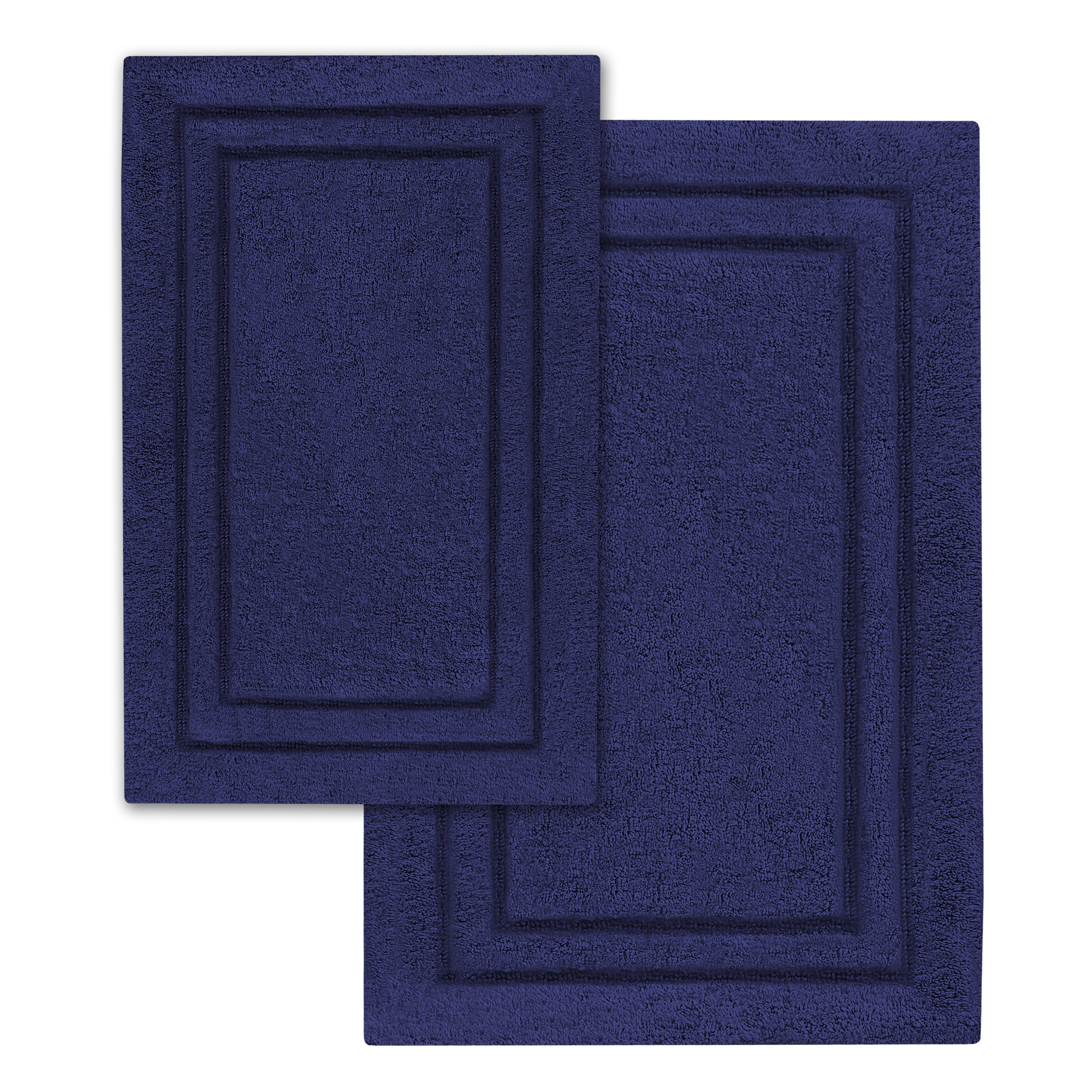 Superior 2-Pack Bath Rugs, Premium 100% Combed Cotton with Non-Slip Backing, Soft, Plush, Fast Drying and Absorbent - Navy Blue, 20'' x 30'' and 24'' x 36'' Bath Mat Set