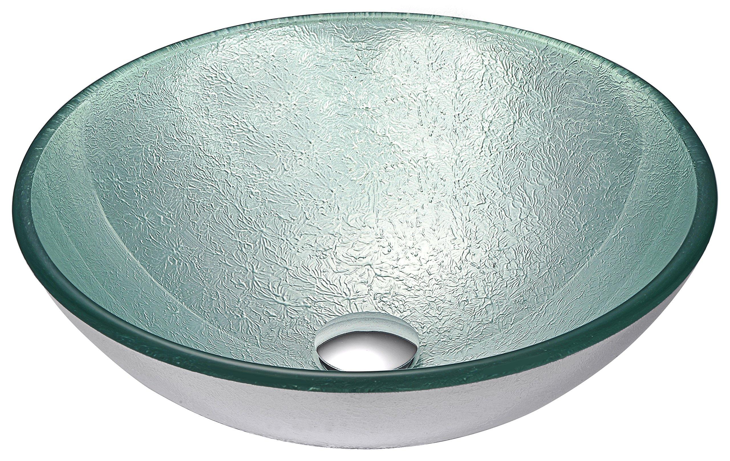 Tempered Glass Vessel Sink - Churning Silver - Spirito Series LS-AZ055 - ANZZI