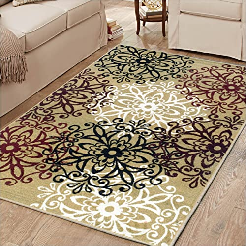 Superior 8mm Pile Height with Jute Backing, Chic Contemporary Floral Medallion Pattern, Anti-Static, Water-Repellent Rugs, 8 x 10 Rug, Gold