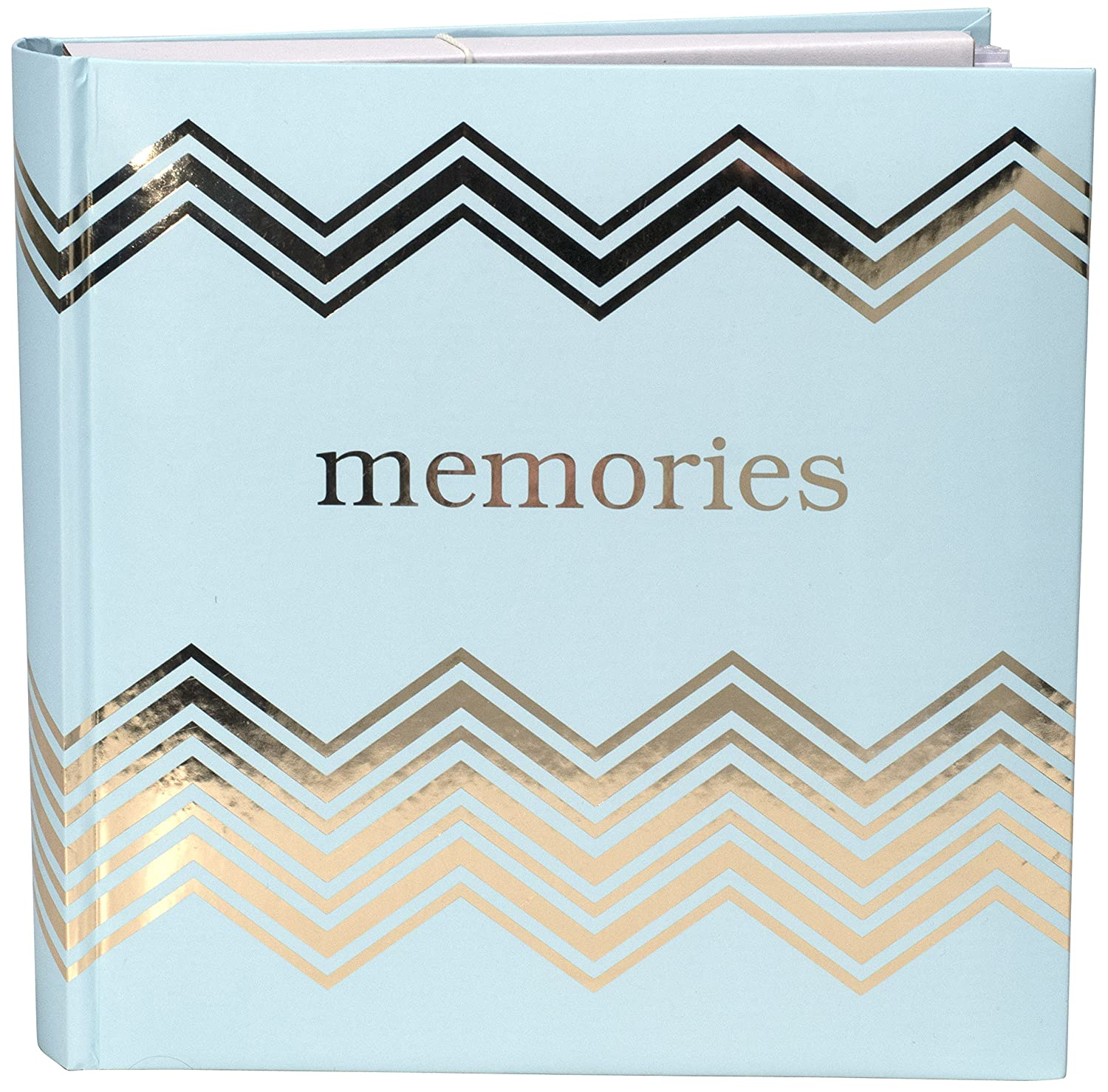 Malden International Designs Sentiments Memories with Memo Photo Opening Cover with Gold Foil Accents Brag Book, 2-Up, 160-4x6, White Malden Industrial Designs 7090-26