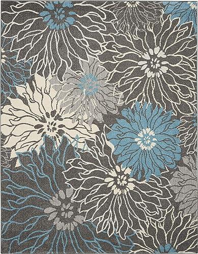 Nourison Passion Floral Chic Charcoal Blue Area Rug 8 x 10