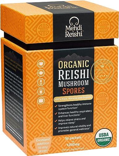 Organic Reishi Mushroom Spores by Mehdi Reishi 30 Servings, 1,000mg-100 Pure, Authentic, Organic Spores-Ganoderma Lucidum, Lingzhi – High Potency Triterpenes