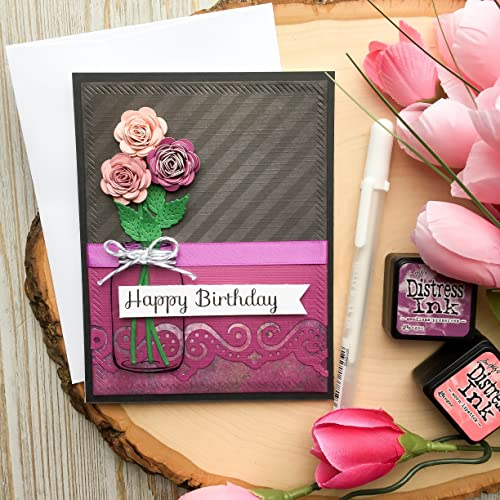 Handmade Birthday Card Mother Happy 3D Flowers Roses