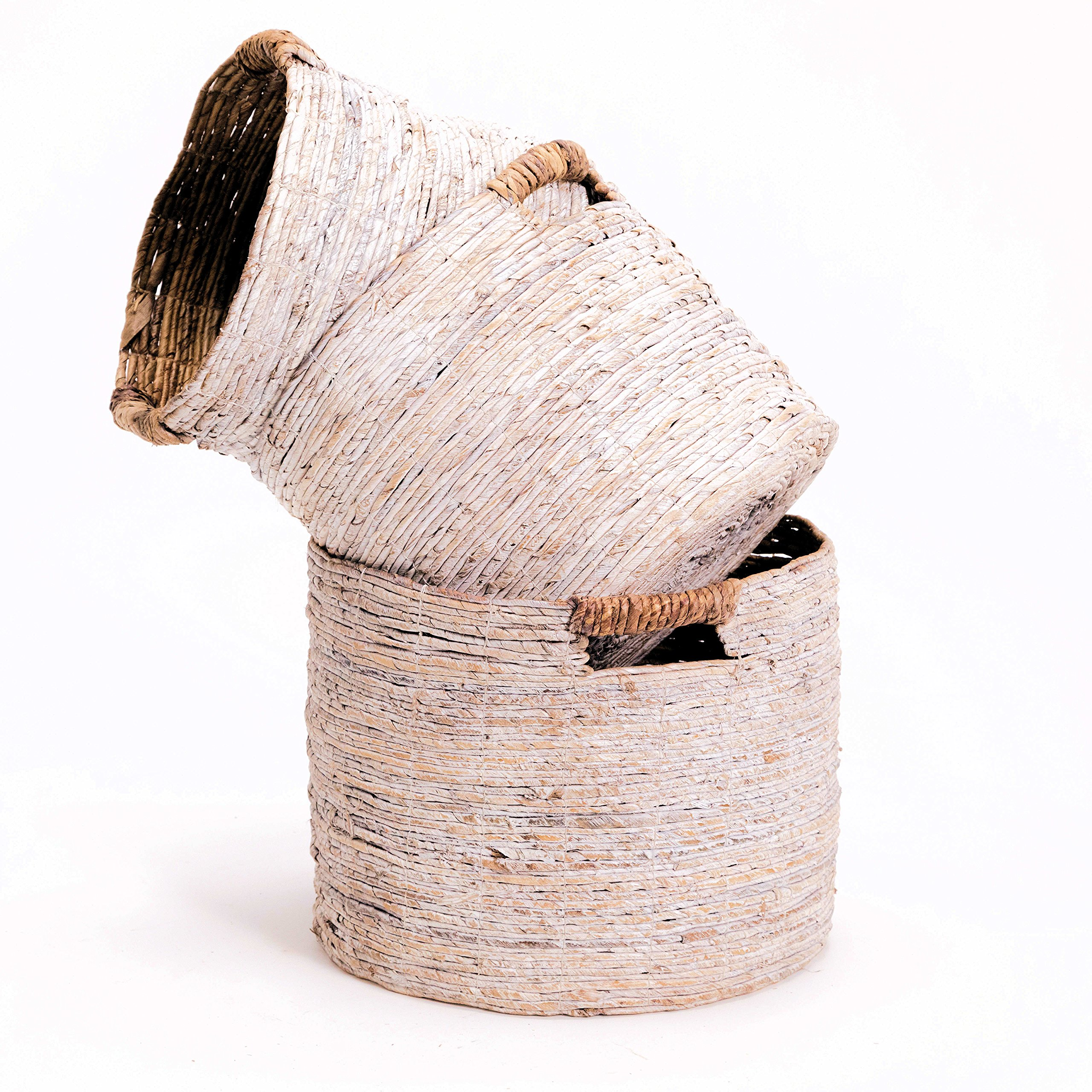 The Romantic Beach Chic White Washed Banana Leaf Baskets, Set of 3, Chunky Weave, Rustic Natural Accents, Cut Out Handles, Various Sizes 10 1/2 Inches - Over 1 Ft. Long, By Whole House Worlds by Whole House Worlds