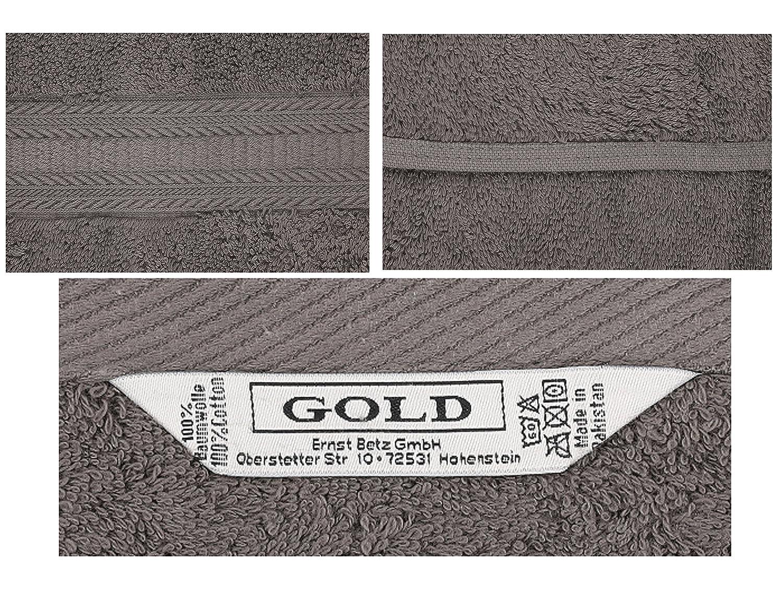 Betz 10 St/ück G/ästehandt/ücher Gold 100/% Baumwolle Qualit/ät 600 g//m/² G/ästetuch-Set 30x50 cm Farbe anthrazit und Silbergrau