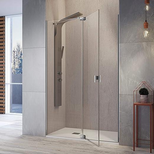 Frente de ducha SULA, Fijo + puerta pivotante 97-112cm: Amazon.es ...