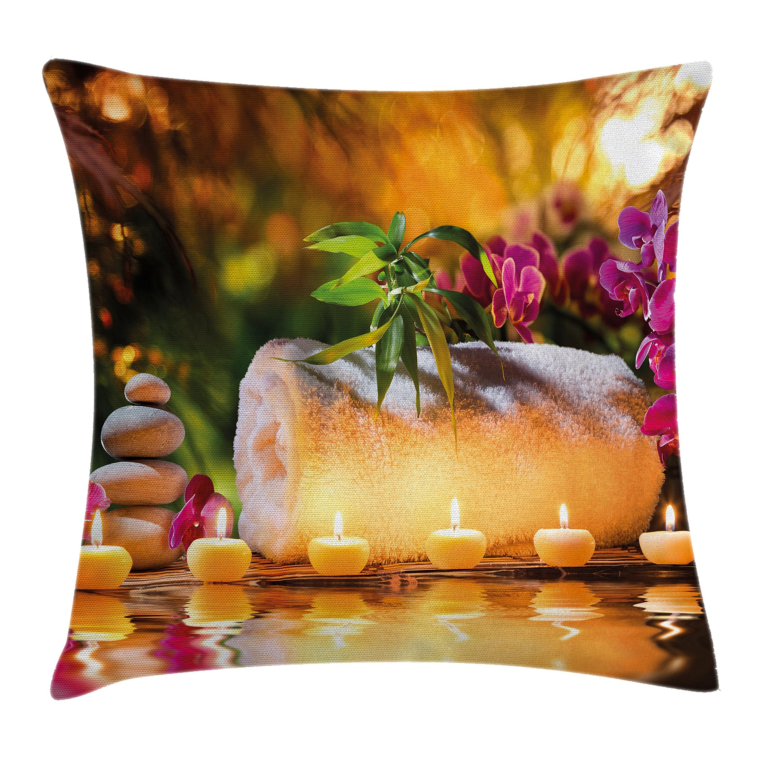 Ambesonne Spa Decor Throw Pillow Cushion Cover, Asian Classic Spa Joy in The Garden with Romantic Candles and Orchids, Decorative Square Accent Pillow Case, 16 X 16 inches, Purple White and Green