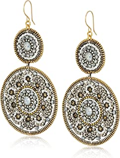 product image for Miguel Ases Large Circle Swarovski Pyrite Double Drop Dangle Earrings