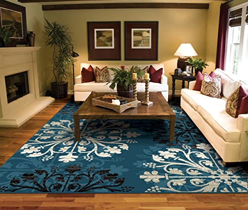 Allstar 5×7 Mocha and Ivory Cabin Rectangular Accent Rug with Grey, Burgundy and Espresso Bordered Reflected Canoe and Wildlife Collage Design 5 2 x 7 1